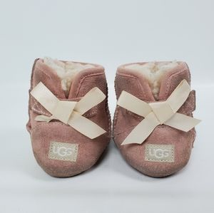 Ugg Baby Girl Bow Valcro Suede Sheep Sherling Boot